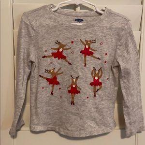 Old Navy 3T Dancing Ballerina Reindeer Shirt